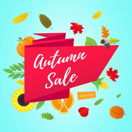 Autumn sale vector banner or poster gradient flat style design vector illustration. AUTUMN SALE, colored leaves, pumpkin, sunflower on white background.