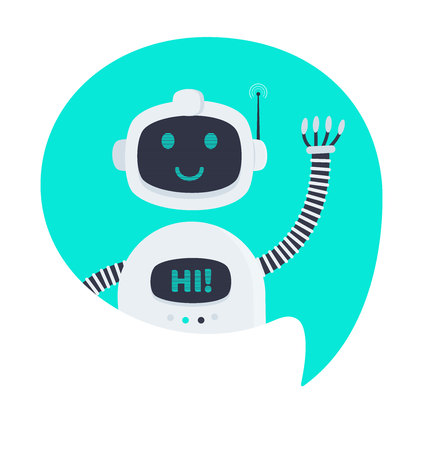 Robot chatbot icon sign flat style design vector illustration isolated on white background. Cute AI bot helper mascot character concept business assistant.
