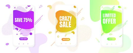 3 Modern vertical mobile liquid abstract shape gradient memphis style design fluid vector colorful illustration set banners for app, presentation, sale, brochure isolated on white background.