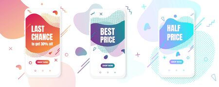 3 Modern vertical mobile liquid abstract shape gradient style design fluid vector colorful illustration set banners for app, presentation, sale, brochure isolated on white background. Иллюстрация