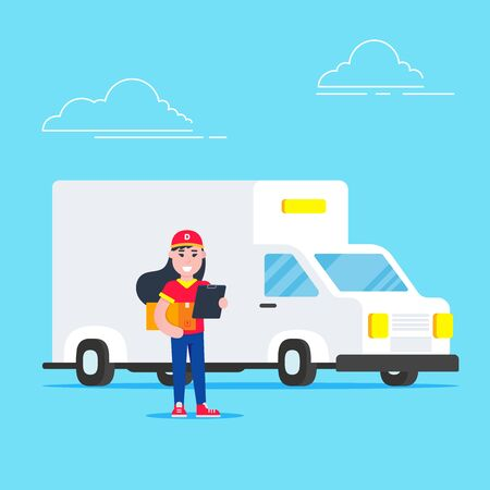 Happy girl with laptop on white background. Symbol of delivery company.