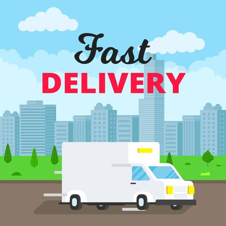 Fast delivery truck service on the road. Blue background. Symbol of delivery company.