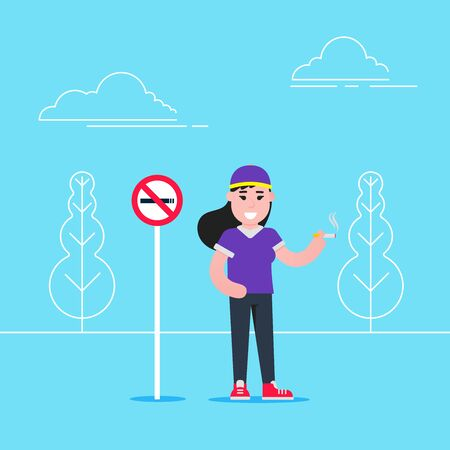 Girl smokes cigarette near no smoking sign flat style vector illustration isolated on light blue background. Concept of no smoking areas. Illustration