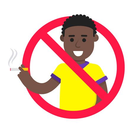 No smoking sign with standing male boy. Forbidden sign icon isolated on white background vector illustration. Boy smokes a cigarette, a red prohibition circle isolated on a white background.