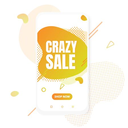 Modern vertical mobile liquid abstract shape gradient Memphis style design fluid vector colorful illustration crazy sale banner for app, presentation, sale, brochure isolated on white background.