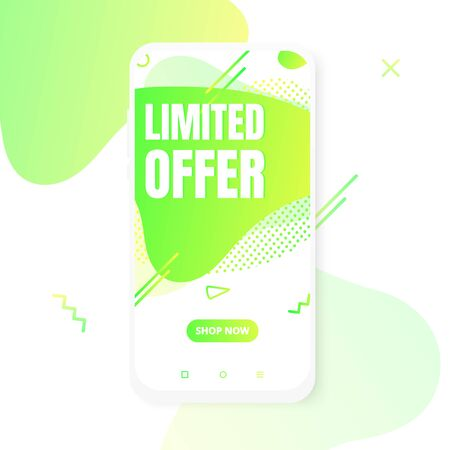 Modern vertical mobile liquid abstract shape gradient memphis style design fluid vector colorful illustration limited offer banner for app, presentation, sale, brochure isolated on white background.
