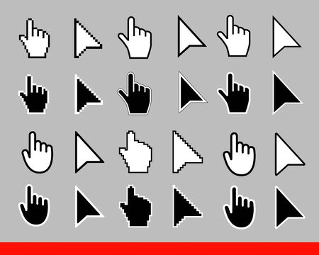 24 White arrow and pointer hand cursor icon set. Pixel and modern version of cursors signs. Isolated on gray background vector illustration.