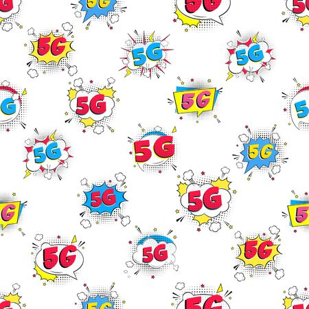 Seamless pattern with modern style wireless internet wifi connection. 5g flat style design. Illustration