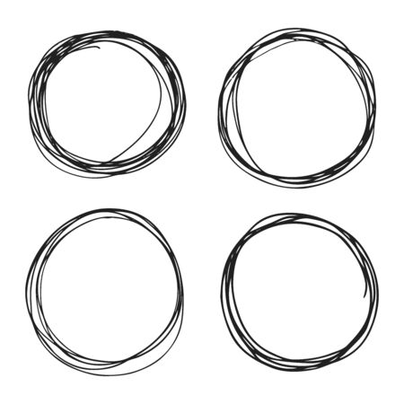 4 hand drawn scribble circles set isolated on white background doodle vector illustration. Illustration