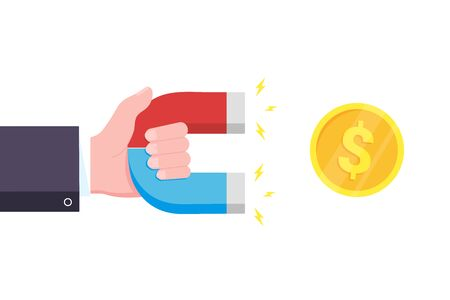 Hand hold red and blue horseshoe magnet icon sign attract golden money coin. Magnetism, money magnetize field symbol concept flat style design vector illustration isolated on white background. Stock Vector - 128576154