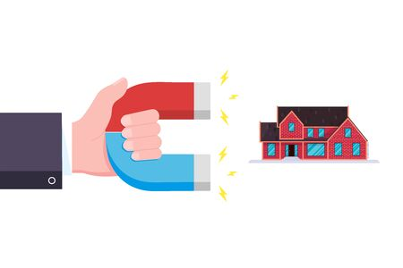Hand hold red and blue horseshoe magnet icon sign attract house. Real estate concept flat style design vector illustration isolated on white background.