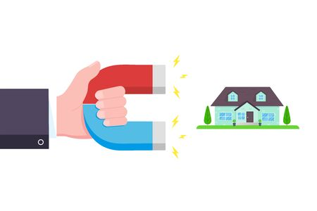 Hand hold red and blue horseshoe magnet icon sign Real estate concept flat style design vector illustration isolated on white background. Stock Vector - 128736628