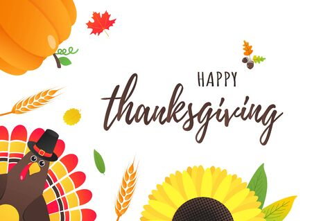 Happy thanksgiving day flat style design poster with turkey, text, autumn leaves, sunflower, corn and pumpkin. Celebrate holidays! Stock Vector - 128736631