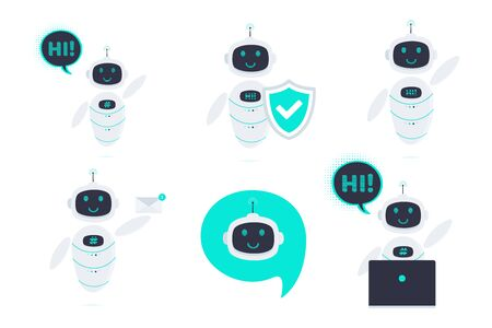 Robot chatbot icon sign flat style design vector illustration set isolated on white background. Cute AI bot helper mascot character with new message letter, envelope, shield symbol business assistant. Illustration