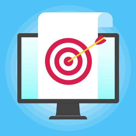 Monitor or All in one pc flat design with paper sheet and target icon with arrow popped above the screen icon signs vector illustration. Technology concept of targeting isolated on blue background. Illustration