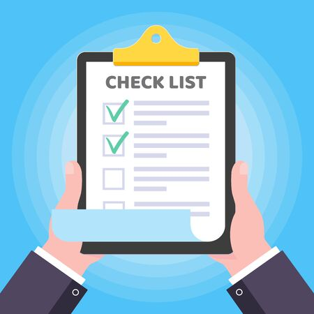 Two hands hold clipboard with checklist claim form on it, paper sheets, check marks tick OK checkbox on the list isolated on light blue background flat style vector illustration. Иллюстрация