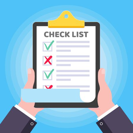 Two hands hold clipboard with check list claim form on it, paper sheets, check marks tick OK and cross x NO checkbox on the list isolated on light blue background flat style vector illustration.