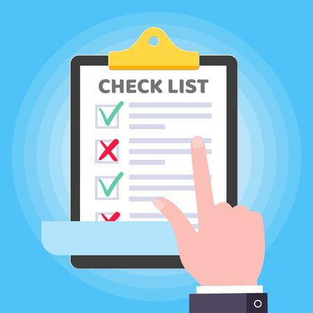 Pointer finger above clipboard checklist claim form on the paper sheets, check marks tick OK and cross x, checkbox on the list isolated on light blue background flat style vector illustration