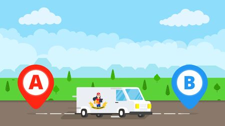 Fast delivery truck service on the road. Car van with city landscape behind flat style design and map pins A and B vector illustration isolated on light blue background. Symbol of delivery company.