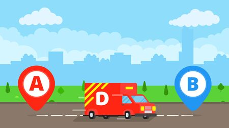 Fast delivery truck service on the road. Pins and stripes vector illustration isolated on blue background. Symbol of delivery company. Illustration