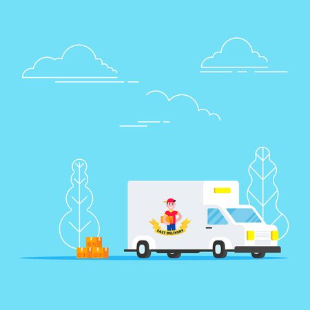 Fast red delivery vehicle car van and boy character and boxes flat style design vector illustration isolated on light blue background. Symbol of delivery company.