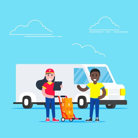 Fast delivery girl character with clipboard and trolley and boxes on it flat style design standing near man behind car van. Delivery to home concept. Fast and free.