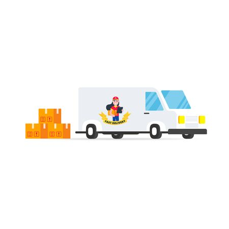 Fast red vehicle delivery vehicle with white background. Symbol of delivery company.