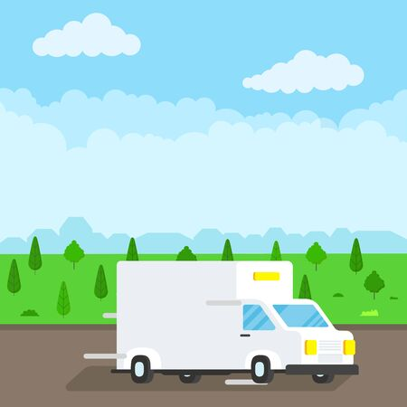 Fast delivery truck service on the road. Car van with landscape behind flat style design vector illustration isolated on light blue background.  Symbol of delivery company. Stock Vector - 128794192