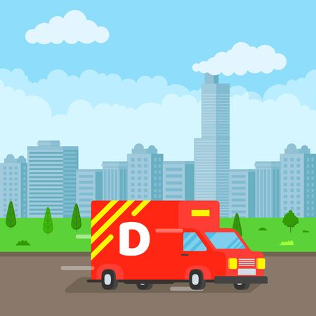 Fast delivery truck service on the road. Blue sky background. Symbol of delivery company. Illustration