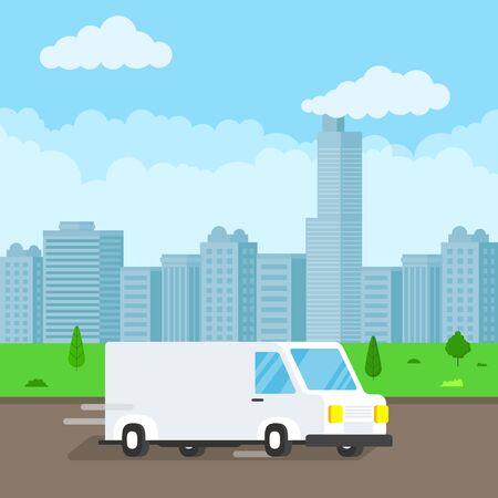 Szybka dostawa samochodów dostawczych na drodze. Tło błękitnego nieba. Symbol firmy kurierskiej.