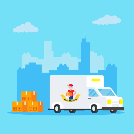 Fast delivery vehicle car van flat style design with city behind vector illustration isolated on light blue background. Cargo auto truck for shipment business with pile of boxes.