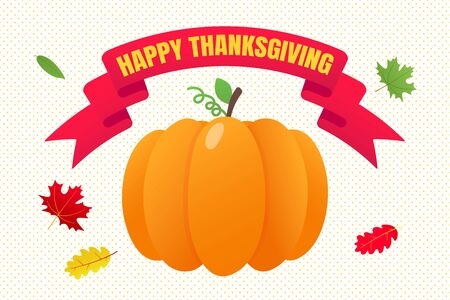 Happy thanksgiving day flat style design poster vector illustration with big pumpkin, text and autumn leaves. Celebrate the holidays!