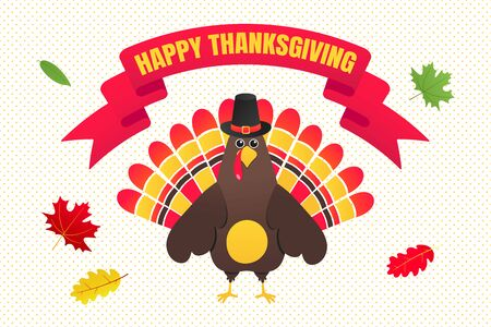 Happy thanksgiving day flat style design poster with turkey, text and autumn leaves. Celebrate holidays!