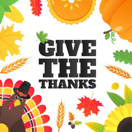 Happy thanksgiving day flat style design poster with turkey, text, autumn leaves, sunflower, corn and pumpkin. Celebrate holidays!