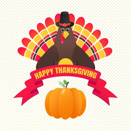 Happy thanksgiving day flat style design poster with turkey, text, autumn leaves and pumpkin. Celebrate holidays!