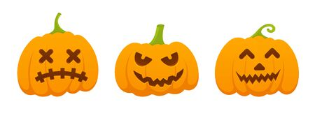 3 orange halloween pumpkins set with scary face expression grimace flat style design vector illustration isolated on white background.