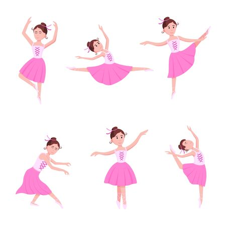 Beautiful ballerinas set dressed in tutu and pointe shoes standing at the pose flat style design vector illustration isolated on white background. Elegant young character of classic ballet. Vectores