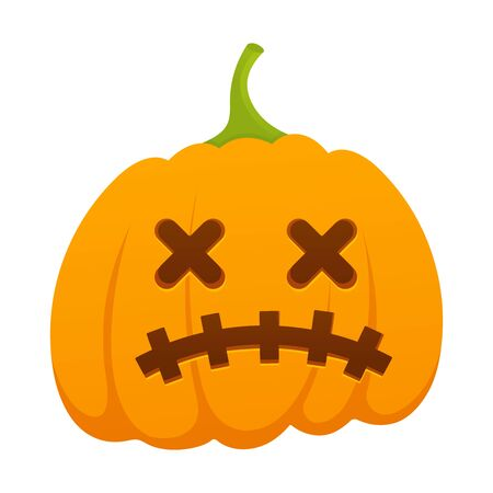 Orange halloween pumpkin with flat face style vector design isolated on white background. Stock Vector - 128576186
