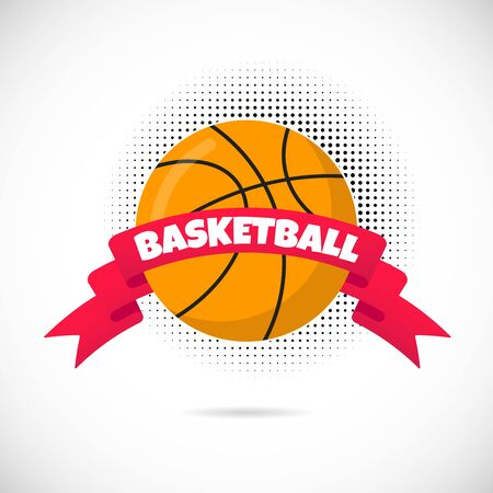 Orange basketball ball flat style design equipment poster vector illustration with basketball round ball icon sign, big red ribbon and text space and dotted halftone isolated on white background.