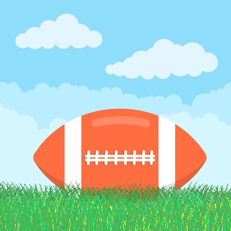 Orange american football ball lie on the green grass flat style design icon sign isolated on sky background. Symbol of the sport game rugby or football.