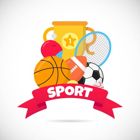 Sport time flat style design equipment with soccer ball, football, football, basketball. Cup goblet and table tennis racket, isolated on white.