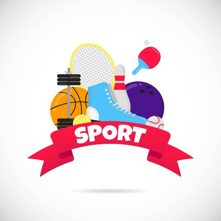 Sport gaming composition with balls - tennis, bowling, basketball. Banque d'images - 128794208