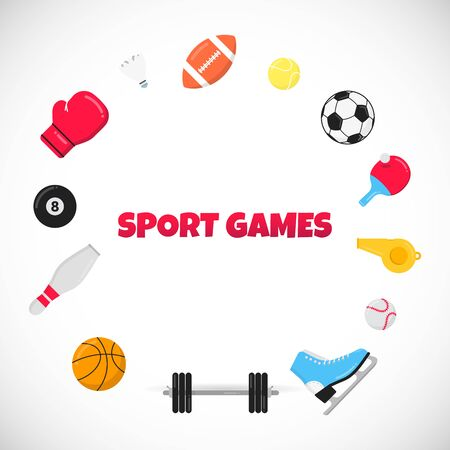 Sport gaming composition with balls - soccer, football, basketball.