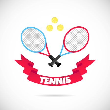Two tennis rackets and balls flat style design with ribbon and text TENNIS icon sign vector illustration isolated on white background. Symbols of the tennis game competition.