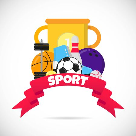Sport time flat style design equipment poster vector illustration with balls - soccer, football, basketball. Cup goblet, big red ribbon and text space isolated on white. Illustration