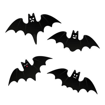 Halloween flying bats set  with scary face flat style design vector illustration isolated on white background. Halloween celebration symbols.