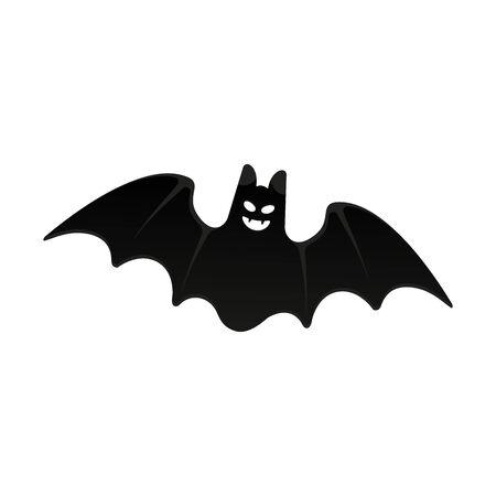 Halloween flying bat with flat design style vector illustration isolated on white background. Halloween celebration symbols.