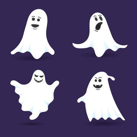 4 cute ghost characters flat style design vector illustration set isolated on dark background. Halloween boo spooky symbol flying above the ground. Illustration