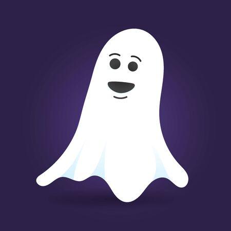 Illustration de vecteur de conception de style plat personnage fantôme mignon isolé sur fond sombre. Symbole effrayant Halloween boo volant au-dessus du sol.