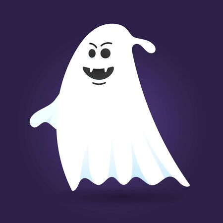 Cute ghost character flat style design vector illustration isolated on dark background. Halloween boo spooky symbol flying above the ground. Stock Vector - 128576216